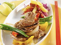 Grilled lamb and vegetables
